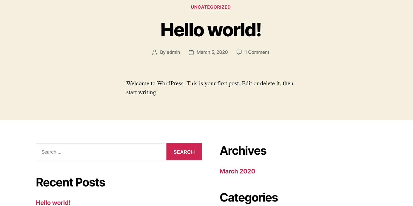 How to create a website: Fresh WordPress Install