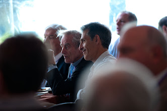 Photo: Sir Harold Evans (left) and Michael Lynton (right) at the RAND Politics Aside event during lunch Friday, Nov. 16, 2012 at the Santa Monica headquarters campus of RAND.