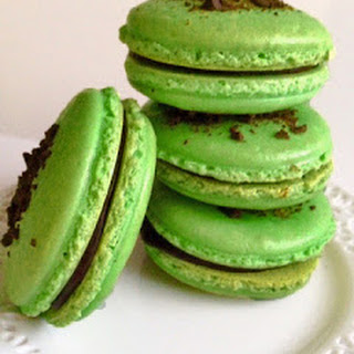 Mint Chocolate French Macarons.