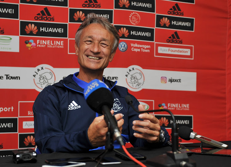 Ajax Cape Town head coach Muhsin Ertugral in a jovial mood during his press conference ahead of the Absa Premiership clash at home against Kaizer Chiefs at the Cape Town Stadium on Saturday May 12 2018.