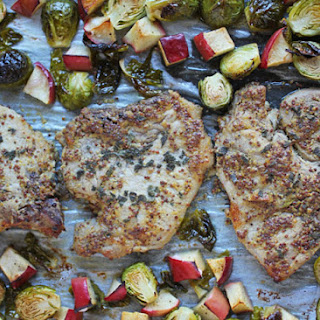 Roasted Pork Chops, Brussels Sprouts and Apples Sheet Pan Dinner.