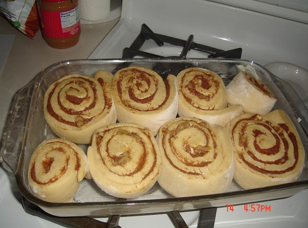 Preheat oven to 350° Fahrenheit. When rolls have doubled in size place on middle oven...