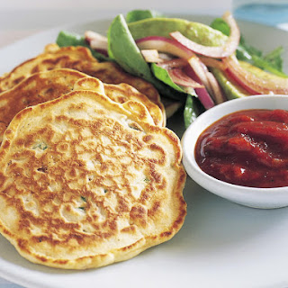 Savory Corn and Shallot Pancakes with Arugula Salad