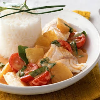 Fish Curry with Tomatoes and Rice.