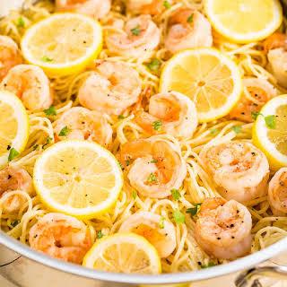Lemon Butter Garlic Shrimp with Angel Hair Pasta.