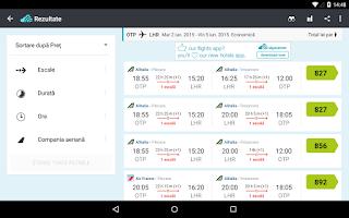 Screenshot of Skyscanner toate zborurile