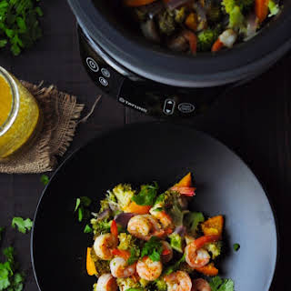 Fusion Cooker 15-Min Mojo Shrimp with Vegetables (Stove Method Recipe Included).