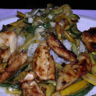 Marinated Limoncello Chicken With Rice & Limoncello Courgettes