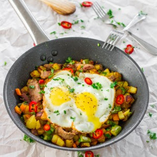 Asparagus Potato Hash with Steak and Eggs.