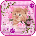 Pink Flower Kitty Keyboard Background icon