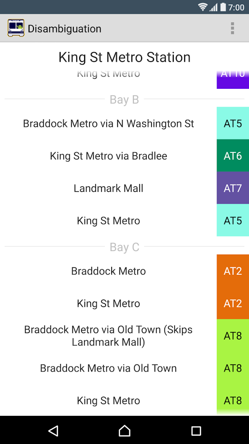 Alexandria DASH Bus Schedule- screenshot