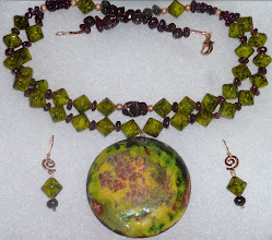 Photo: SUMMER SOLSTICE - ЦВІТ ПАПОРОТЬ - copper enamel pendant, garnets, glass beads, rose gold vermеil lobster claw clasp/beads/swirls/French wires SOLD/ПРОДАНИЙ