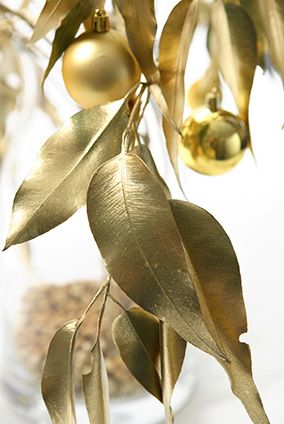 Gold Gum Leaves Christmas Decorations
