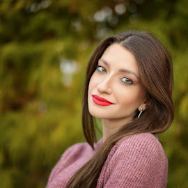 Nico by Catalin Popescu - People Portraits of Women ( lips, woman, nikond610, background, autumn colors, bokeh, shooting, autumn, eyes, park, smile )