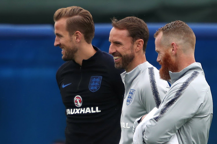 England's Harry Kane and England manager Gareth Southgate during training.