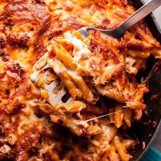 Skillet Baked Cheesy Bacon Penne