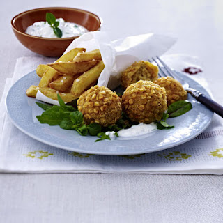Lentil Falafel with French Fries and Minty Yogurt Dip.