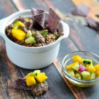 Black Bean Hummus with Mango-Cucumber Salsa