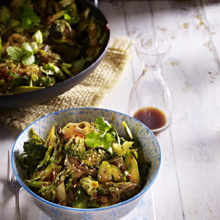 Stir Fried Green Vegetables with Rice Noodles Recipe