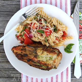 Pesto Grilled Chicken with Fresh Tomato Pasta