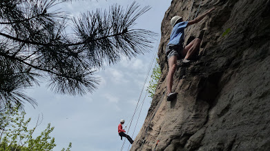 Photo: Top rope climbing at the Waterline wall in Castlegar