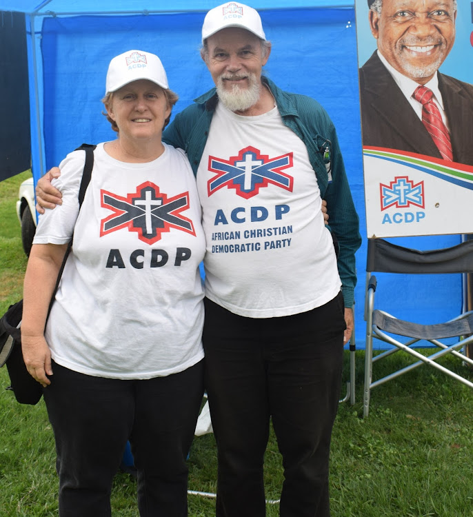 ACDP Port Alfred chairman Amanda Rathbone and ACDP treasurer Gavin Rathbone at a voting station at the Port Alfred.
