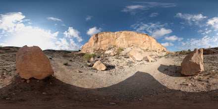 Photo: Chimiche Quarry showing the granadilla ignimbrite, a pyroclastic flow deposit, in Tenerife.