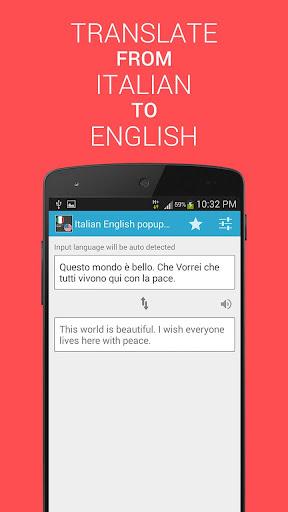 Tradurre Italian English popup