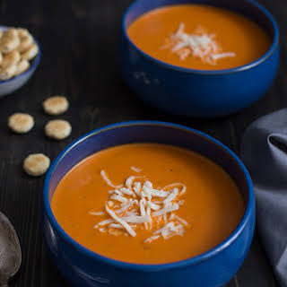 Roasted Red Pepper Smoked Gouda Soup.
