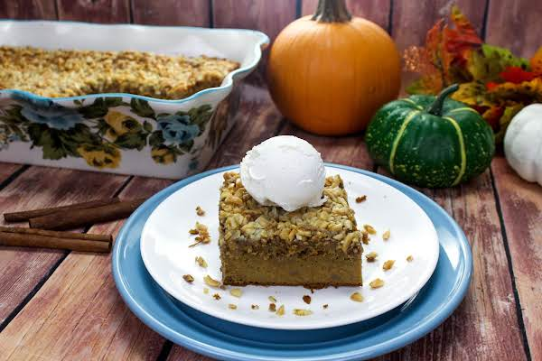 A Slice Of Pumpkin Spice Dump Cake Ready To Be Served.