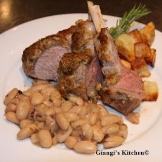 Herbs Rack of Lamb with White Bean ANd Rosemary Ragout