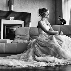 Tamara by Jovan Barajevac - Wedding Bride ( love, b&w, novi sad, window, dress, bride )