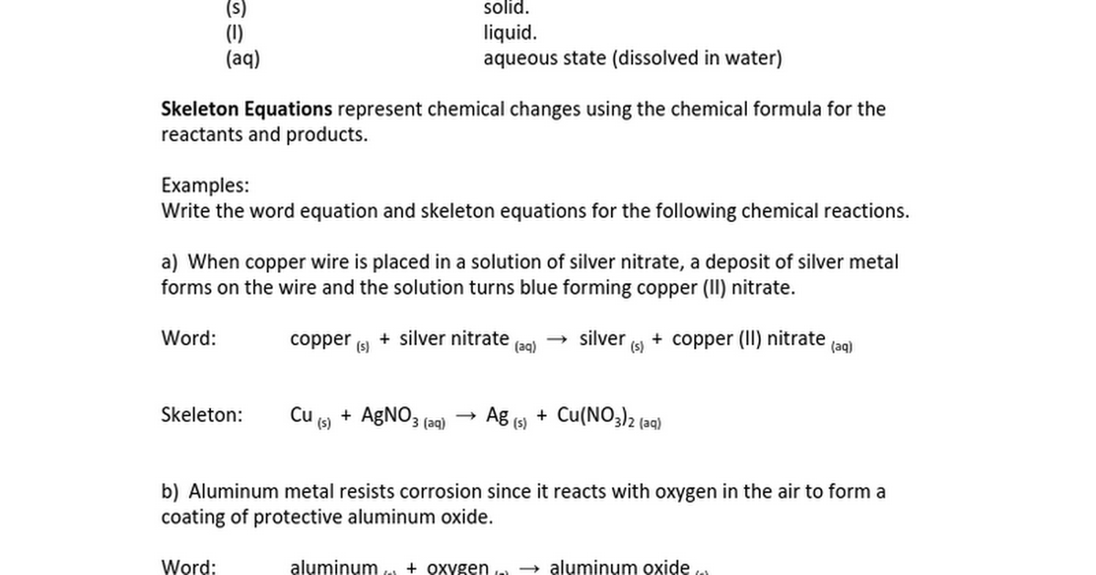 Worksheets Writing Skeleton Equations Worksheet With Answers chem08 word equations note and worksheet answers google docs