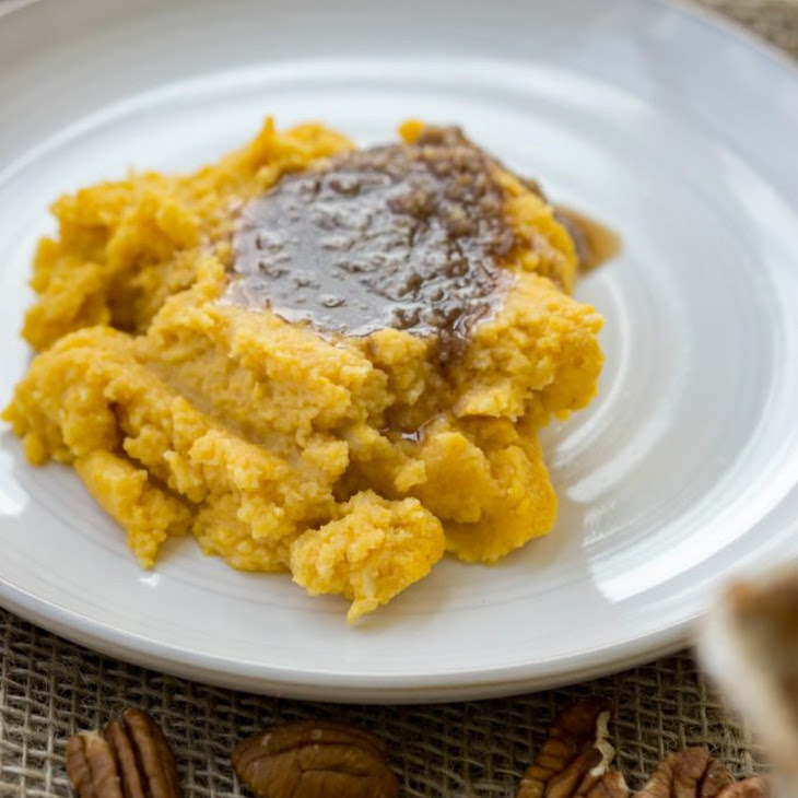 Healthy Sweet Potato Casserole | Pecan Cinnamon Sauce!