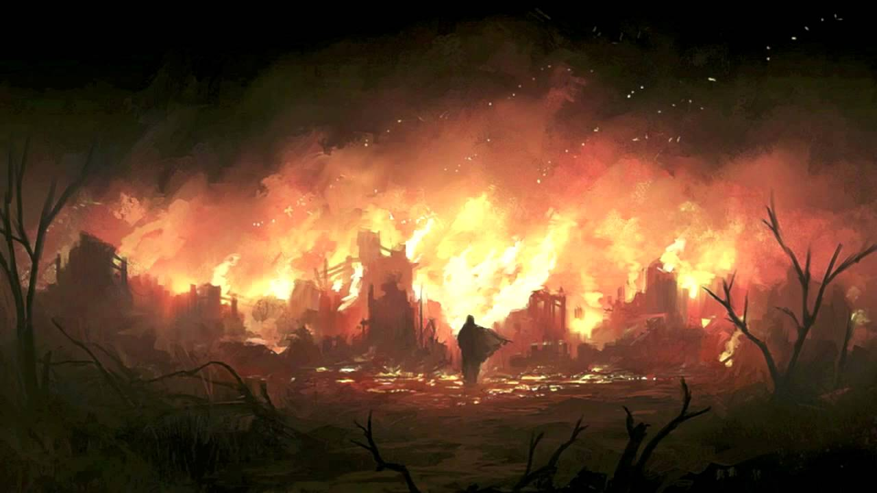 Image result for burning palace on hill reference art