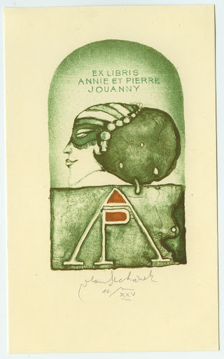 063. Bookplate. ANNIE ET PIERRE JOUANNY. Girl with a mask, initials AP.