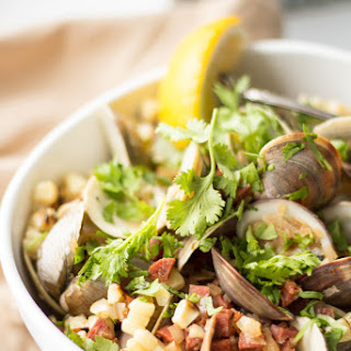 Clams with Chorizo, Grilled Corn and Cilantro