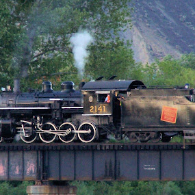 The Train Boss by Sean Leland - Transportation Trains ( steam engine, locomotive, kamloops, train, steel bridge, british columbia,  )