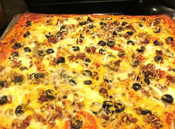 Meaty Crescent  Dough Sheet Pizza W/4 Cheeses Recipe