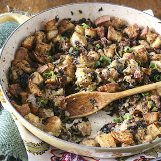 Sourdough Kale Stuffing with Sausage and Bacon
