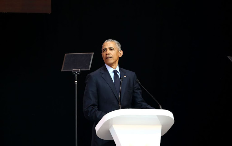 Former US president Barack Obama delivers the 16th Nelson Mandela Annual Lecture at Wanderers Stadium, Johannesburg on July 17, 2018.