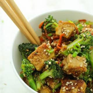 Sticky Sesame Tofu and Broccoli.