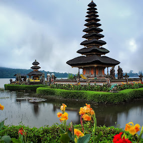 Ulun Danu Temple by Arya Satriawan - Landscapes Travel ( clouds, temple, water, reflection, nature, national geographic, lake, sunrise, landscape, flower )