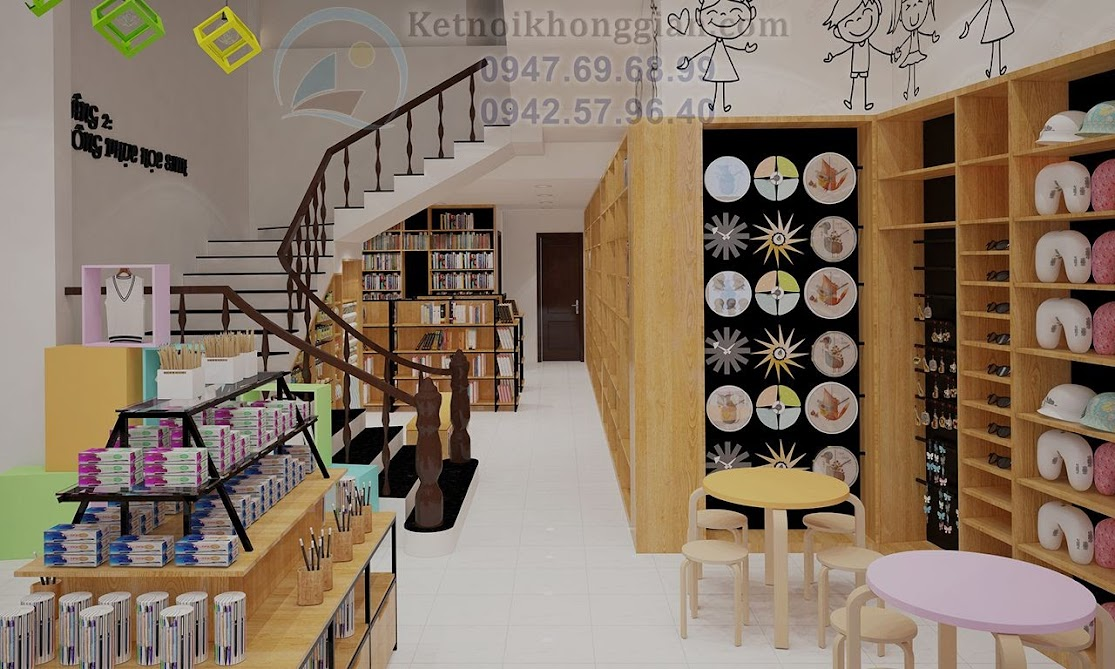 thiết kế nội thất nhà sách đa dạng