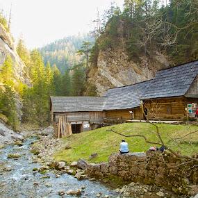 Mill by Ferdinand Debnárik - Landscapes Mountains & Hills ( forests, meagows, sream, rocky cliff, bridge, valley, liptov, wooden building )