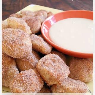 Pretzel Bites - Cinnamon & Sugar with Vanilla Glaze, Plain and Parmesan & Garlic.