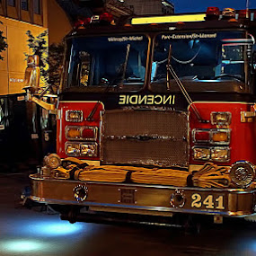 Parked by Ivan Cohene - City,  Street & Park  Night ( #firetruck, #trucks, #fireequipment )