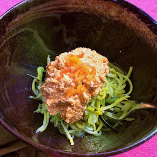 GF Vegan Squash Spaghetti with Roasted Red Pepper Bolognese Recipe