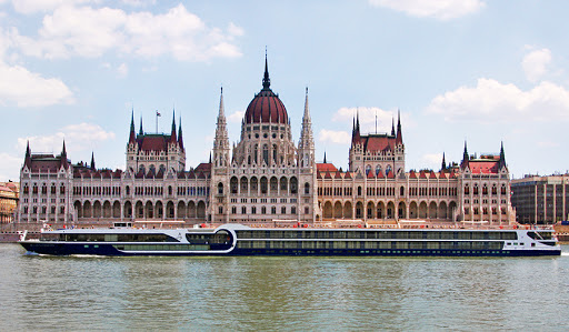 Avalon Illumination in Budapest, cruising by Hungary's beautiful parliament building.