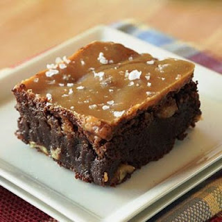 Dark Chocolate Brownies with Espresso, Toasted Walnuts and Salted Caramel Glaze